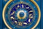 686449-blue-zodiac-clock-with-gold-deatail-and-decoration