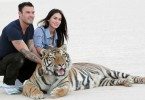 "*EXCLUSIVE* Pahrump, NV - **ABSOLUTELY NO BLOG USE**  Brian Austin Green surprised his wife Megan Fox with a day of playing and petting full grown TIgers.  The newlyweds headed out to Pahrump, Nevada to the ""Big Cat Encounters Ranch"", owned and run by Karl Mitchell, an avid animal lover and wild animal trainer.  Mitchell has trained animals ranging from antelope and zebra, to this now very famous family of Tigers.  He is dedicated to the preservation of rare animals and fights tooth and nail for their well being and proper treatment.  Karl was kind enough to give Brian and Megan, who are also big animal lovers, the rare chance to play and understand these giant wild TIgers.  Brian and Megan made a peace offering to the tiger as he was released from his caged trailer by offering him water.  This is the first step in gaining trust and respect back from the giant cat.  Once the tiger was able to relax and lay down, Megan and Brian got the experience of a lifetime!  Karl wasn't done pulling tricks out of his bag just yet though, and introduced them to his new, baby tiger that is actually living with him in his bedroom amongst his dogs.  The baby took and an extra liking to Brian and the two played together on the ground for nearly an hour.  Megan was given a baby bottle full of milk to feed the young tiger and he was quite thankful.  Brian and Megan were overjoyed with the experience and plan to donate money to Karl Mitchell's sanctuary and help better the lives of these special tigers! GSI Media    October 15, 2010To License These Photos, Please Contact :Steve Ginsburg (310) 505-8447 (323) 4239397 steve@ginsburgspalyinc.com sales@ginsburgspalyinc.comorKeith Stockwell (310) 261-8649 (323) 325-8055 keith@ginsburgspalyinc.com ginsburgspalyinc@gmail.com"